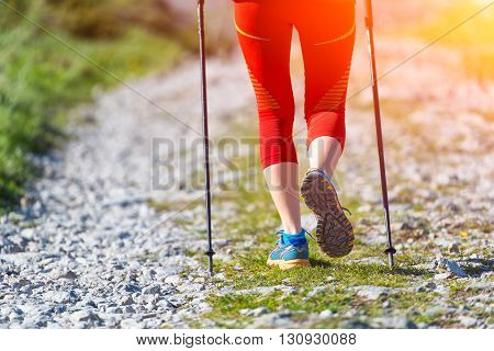 Details Of Walking On Mountain Road With Sticks
