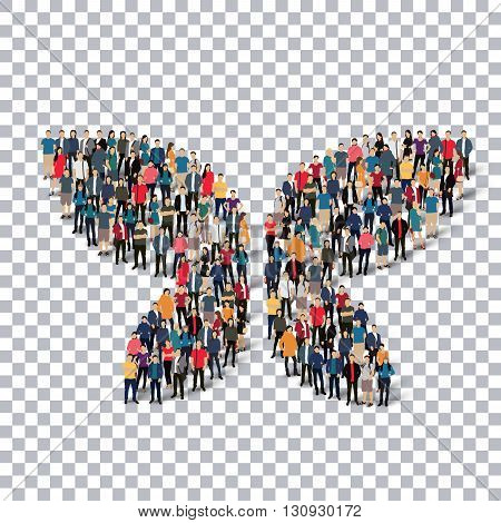 A group of people in the form of a butterfly , transparent, isometrick , web infographics concept illustration of a crowded square, flat 3d. Crowd point group forming a predetermined shape. Creative people.Transparency grid. 3D illustration.