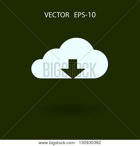 Flat icon of download cloud