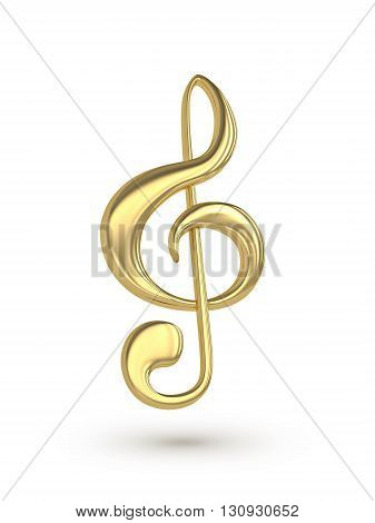 Golden treble clef. 3D rendering with clipping path