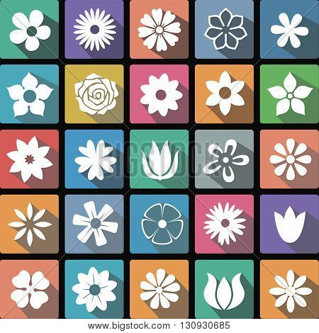 Vector illustration flat icons collection of flowers