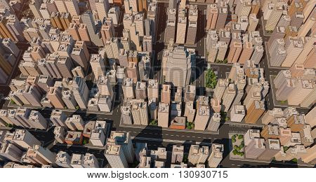 City scape with trees and streets. High buildings. Center of big town. 3D render.