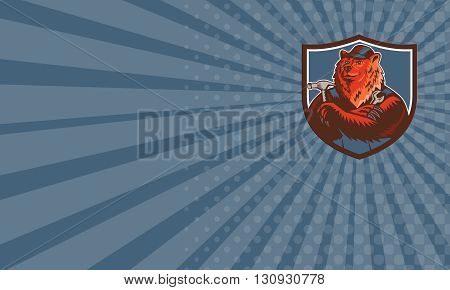 Business card showing illustration of a builder handyman Russian bear or Eurasian brown bear wearing hat arms folded with tools hammer and wrench facing front set inside crest shield done in retro woodcut style.