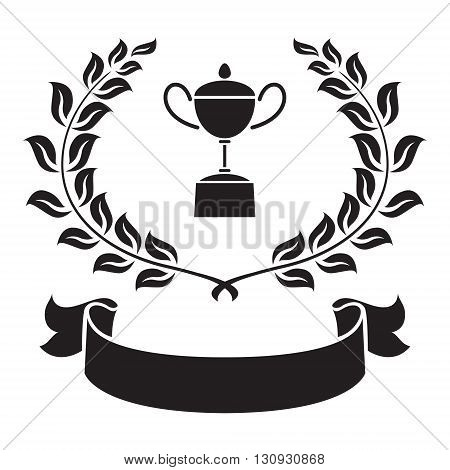 clip art trophy, olive leaf and ribbon on white background