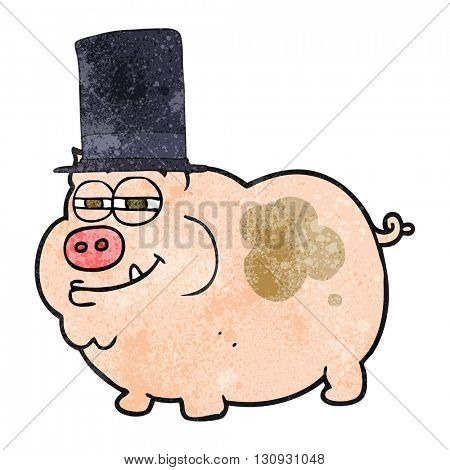 freehand textured cartoon rich pig