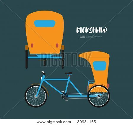 Rickshaw flat design. Indian rickshaw. Indian rickshaw. Auto rickshaw and pedicab. Travel transport taxi, tourism and vehicle. Traditional india rickshaw silhouette cycle cab. Vector illustration.