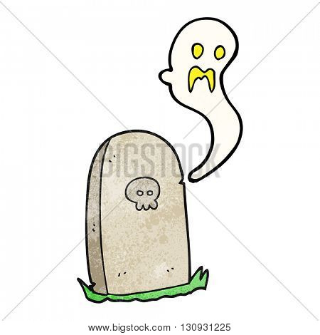 freehand textured cartoon ghost rising from grave