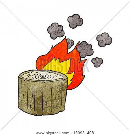 freehand textured cartoon burning log