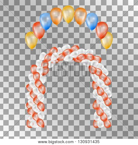 Balloons on transparent background. Vector set for greeting cards. Arch of balloons isolated. Red orange yellow blue balloons. 3d design.