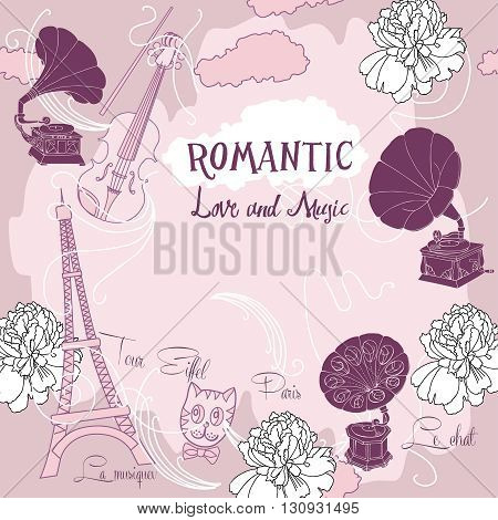 Romantic background with  Paris, flowers  and gramophones.Hand drawn sketches old record player. Vector music illustration