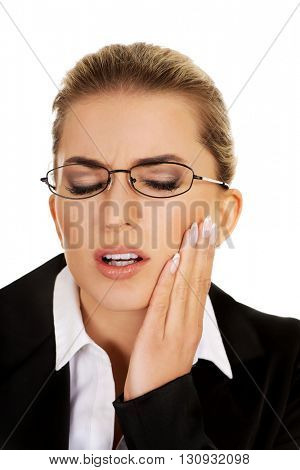 Young woman has a toothache