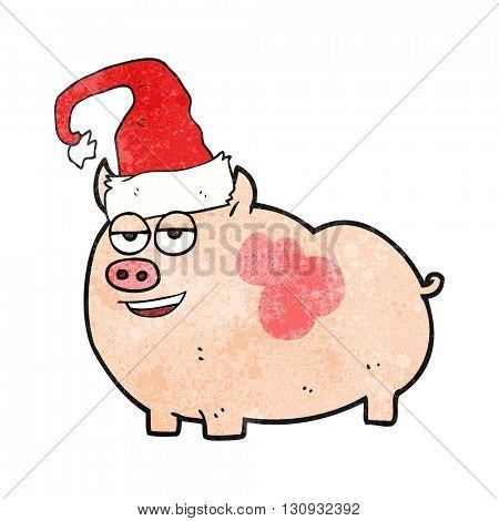 freehand textured cartoon christmas pig