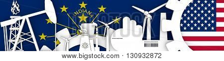 Energy and Power icons set. Header banner with Indiana and USA flags. Sustainable energy generation and heavy industry. 3D rendering