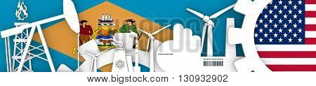 Energy and Power icons set. Header banner with Delaware and USA flags. Sustainable energy generation and heavy industry. 3D rendering