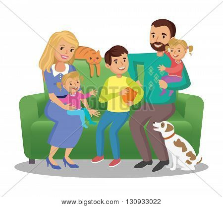 Big family on sofa. Happy family portrait smiling parents and kids. Concept happy family family in love. Vector illustration