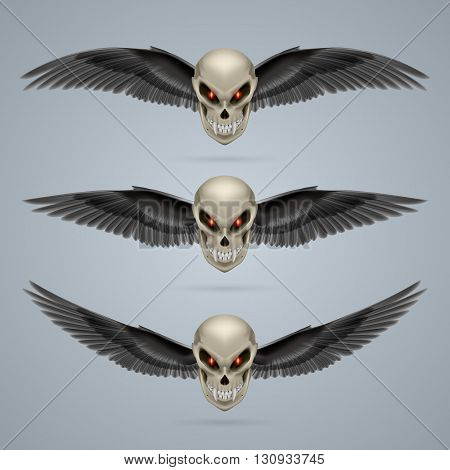 Set of mutant skulls with long fangs and black wings