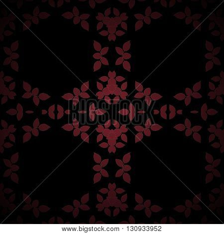 Geometric seamless background. Dark regular hexagon pattern with abstract leaves in red brown shades on black, centered and blurred.