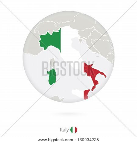 Map Of Italy And National Flag In A Circle.