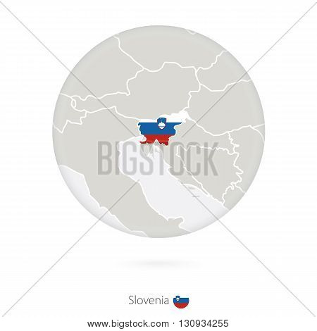 Map Of Slovenia And National Flag In A Circle.
