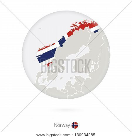Map Of Norway And National Flag In A Circle.