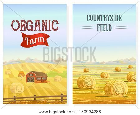 Countryside landscape vector illustration with haystacks on fields. Rural area landscape. Meadow landscape. Rural background. Hay bales. Farming life concept. Hay bales rural landscape. Countryside field. Rural landscape vector. Countryside house.