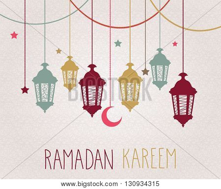 Ramadan Kareem background with hanging lamps and stars. Vector illustration.