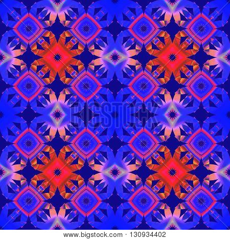 Abstract geometric seamless retro background. Conspicuous diamond pattern in orange, violet and purple shades.