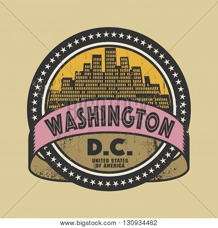 Grunge rubber stamp or label with name of Washington D.C., vector illustration