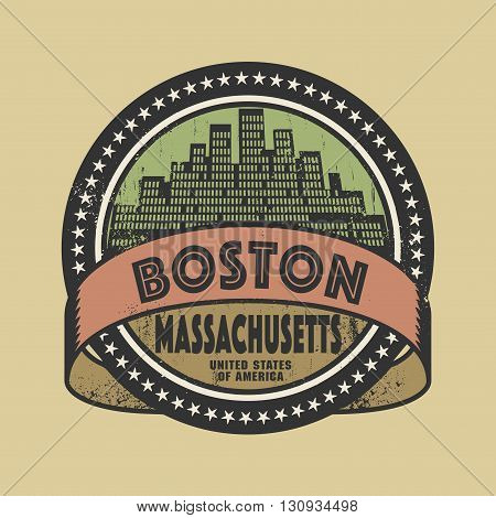 Grunge rubber stamp or label with name of Boston, Massachusetts, vector illustration