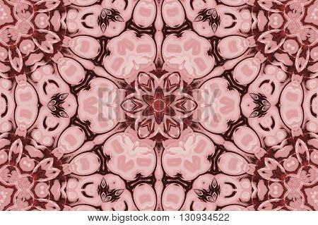 Abstract geometric seamless hexagon background. Floral ornament in pink and dark brown shades, ornate and dreamy.