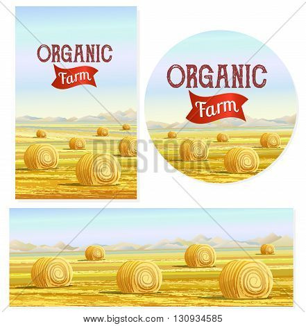 Countryside. Rural area. Fields with haystacks. Country Landscape. Meadow background. Hay bales. Farming life. Vector illustration in cartoon style.