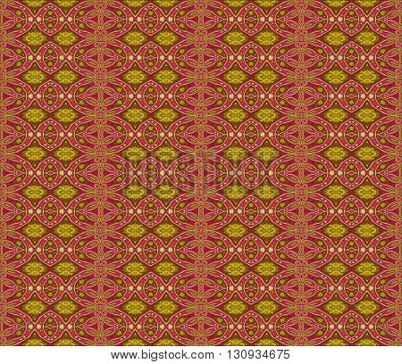 Abstract geometric seamless retro background. Ornate ellipses and diamond pattern red violet with elements in yellow, ocher, brown and olive green.