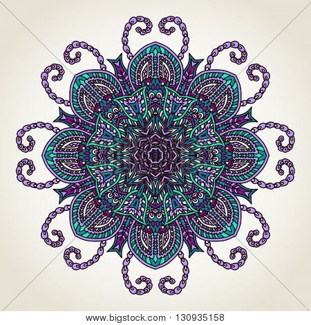 Ornate lacy doodle floral round rosette over white backgrounds. Hand drawn teal blue and purple mandala.