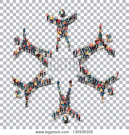 Isometric set of styles, man, symbol , web infographics concept illustration of a crowded square. Crowd point group forming a predetermined shape. Creative people.Transparency grid.