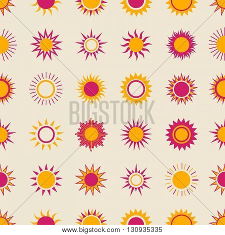 Suns On The Sky Seamless Pattern