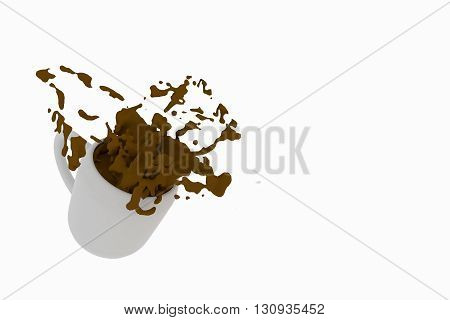 3D rendering of A cup of coffee spill on a white background