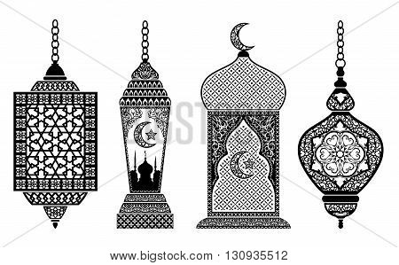 Set of arabic lanterns decoration for holy month of muslim community Ramadan Kareem EPS 10 contains transparency