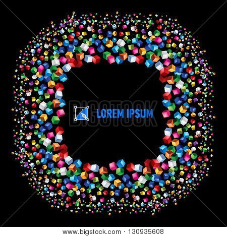 Multicolored cubes over black background with square space for your text