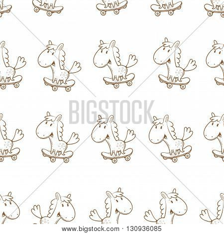 Seamless pattern with cute cartoon horses on skateboard on  white background. Children's illustration. Funny animals. Vector contour image.