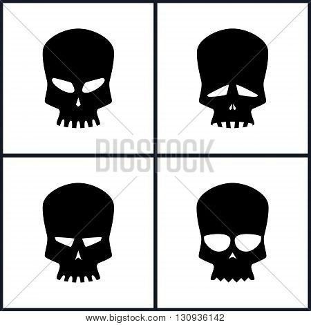 Four Types of Skulls Isolated, Silhouette Skull on a White Background, Black and White Vector Illustration