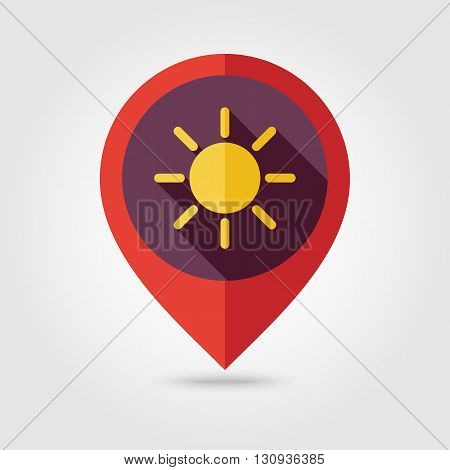 Sun flat pin map icon. Map pointer. Map markers. Meteorology. Weather. Vector illustration eps 10