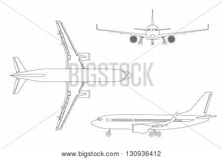 Outline drawing plane in a flat style on a white background. Top view front view side view. Vector illustration