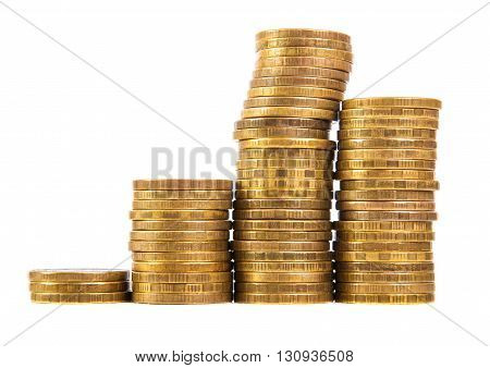 Stack Of Gold Coins Isolated On White Background