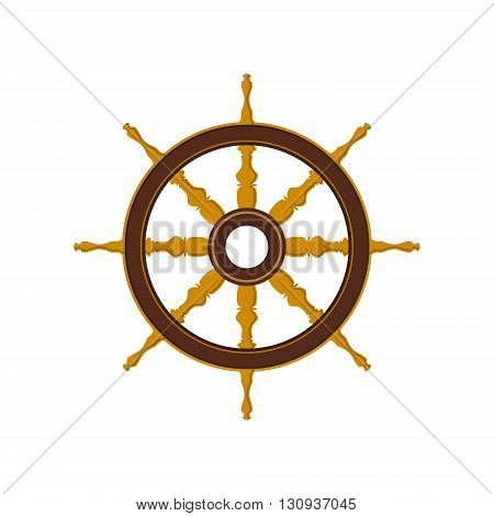 Ships Wheel Isolated on White, Flat Design, Ship Equipment , Vector Illustration