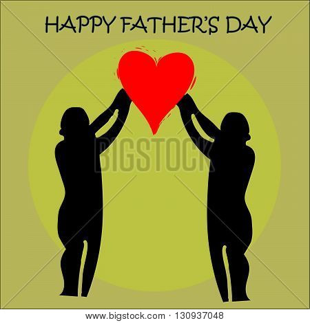Greeting card  for Father's day with heart