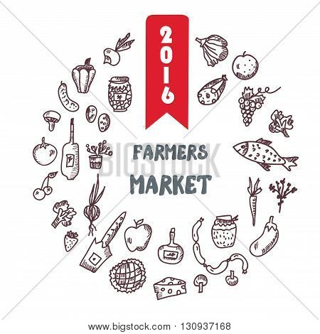 Framers marlket hand drawn background or banner with grocery vegetables and fruits. Vector graphic.