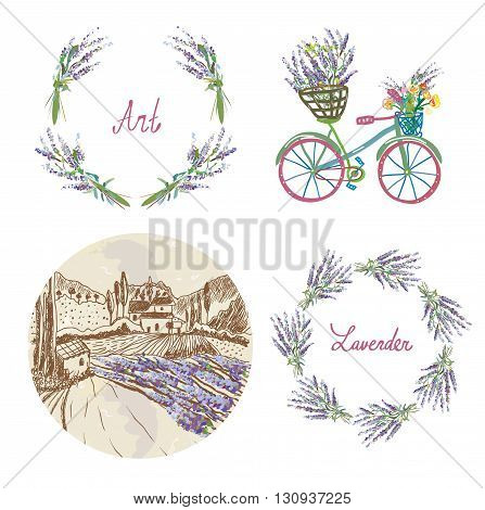 Lavender floral set for the label badge or web - wreath landscape bicycle and frame. Vector illustration