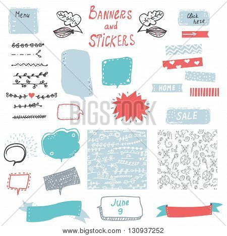 Banner and stickers set for the web design elements - cute handdrawn design. Vector illustration