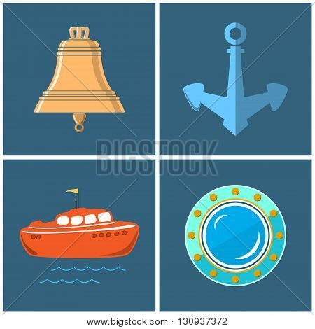 Set of Marine Icons, Ship's Bell and Anchor, Lifeboat and Porthole ,Vector Illustration