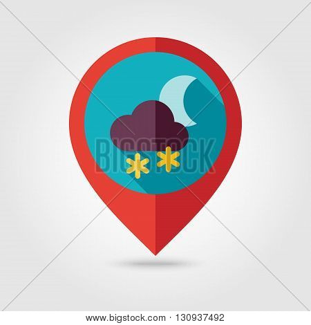 Cloud with Snow Moon flat pin map icon. Map pointer. Map markers. Meteorology. Weather. Vector illustration eps 10